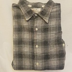 BILL BLASS Linen/Cotton Plaid Long Sleeve Shirt
